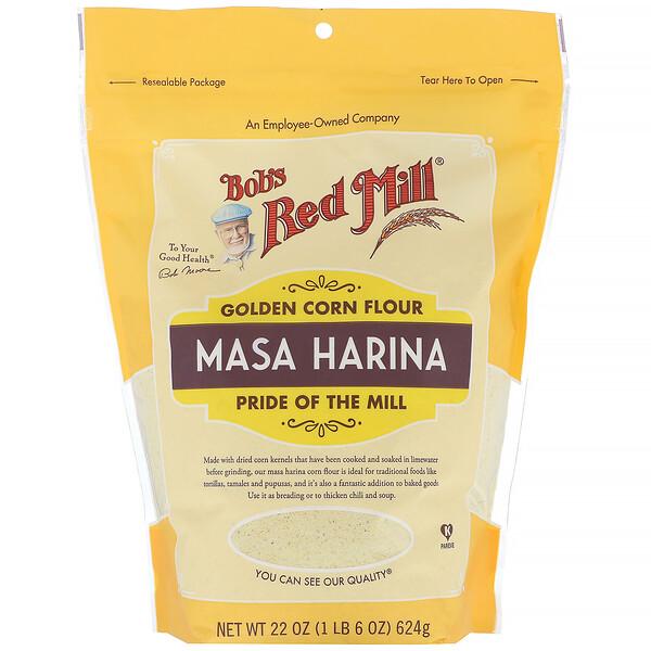 Bob's Red Mill, Золотистая кукурузная мука, маса харина, 624г (22унции)
