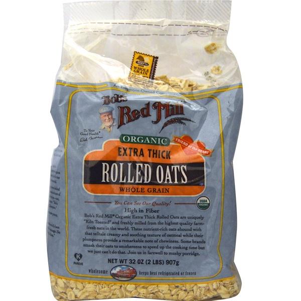 Bob's Red Mill, Органические, очень толстые овсяные хлопья, 907 г (2 фунта) (Discontinued Item)
