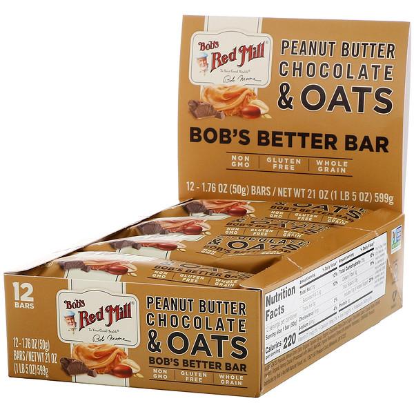 Bob's Better Bar, Peanut Butter Chocolate & Oats, 12 Bars, 1.76 oz (50 g) Each