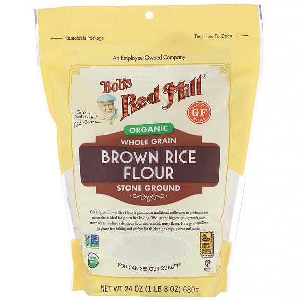Bob's Red Mill, мука из органического бурого риса, цельнозерновая, 680г (24унции)
