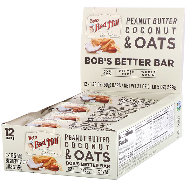 Bob's Better Bar, Peanut Butter Coconut & Oats, 12 Bars, 1.76 oz (50 g) Each