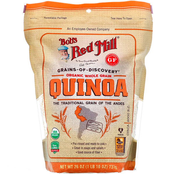 Bob's Red Mill, Organic Whole Grain Quinoa, Gluten Free, 26 oz (737 g)
