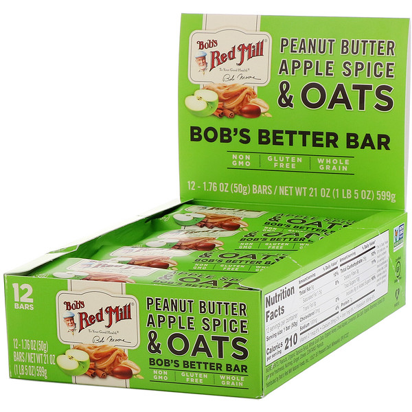 Bob's Better Bar, Peanut Butter Apple Spice & Oats, 12 Bars, 1.76 oz (50 g) Each