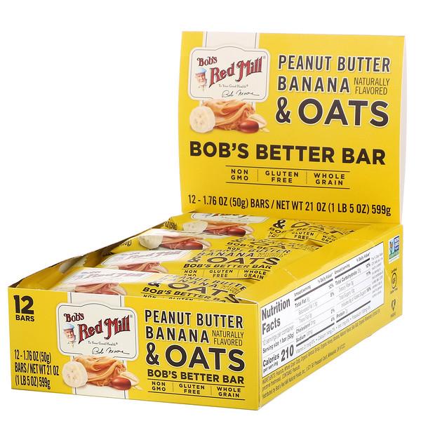 Bob's Better Bar, Peanut Butter Banana & Oats, 12 Bars, 1.76 oz (50 g) Each
