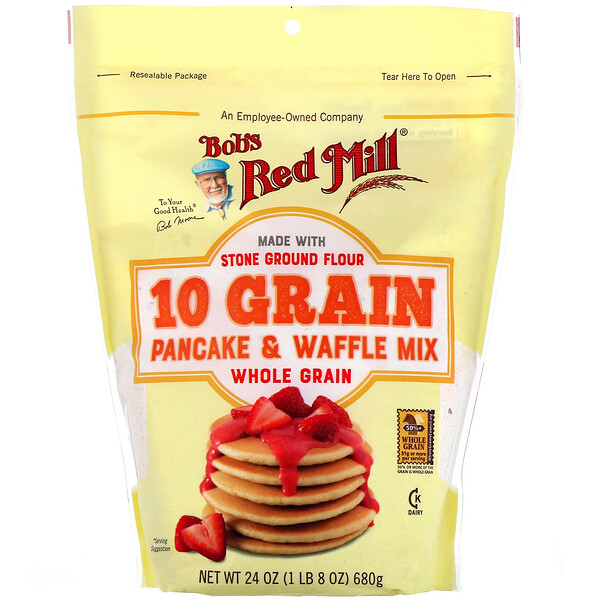 Bob's Red Mill, 10 Grain Pancake & Waffle Mix, Whole Grain, 27 oz (680 g)