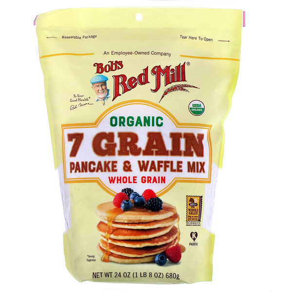 Bob's Red Mill, Organic 7 Grain Pancake & Waffle Mix, Whole Grain, 24 oz (680 g)