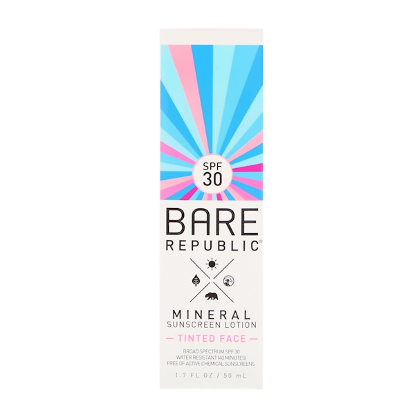 Bare Republic, Солнцезащитный лосьон на минеральной основе, загорелое лицо, SPF 30, 1,7 ж. унц. (50 мл) (Discontinued Item)