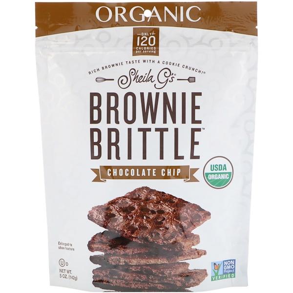 Органическое печенье Brownie Brittle, шоколадные чипсы, 5 унц. (142 г)