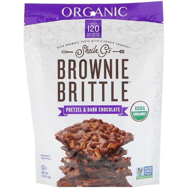 Печенье органическое Brownie Brittle, крендель и темный шоколад, 5 унций (142 г)