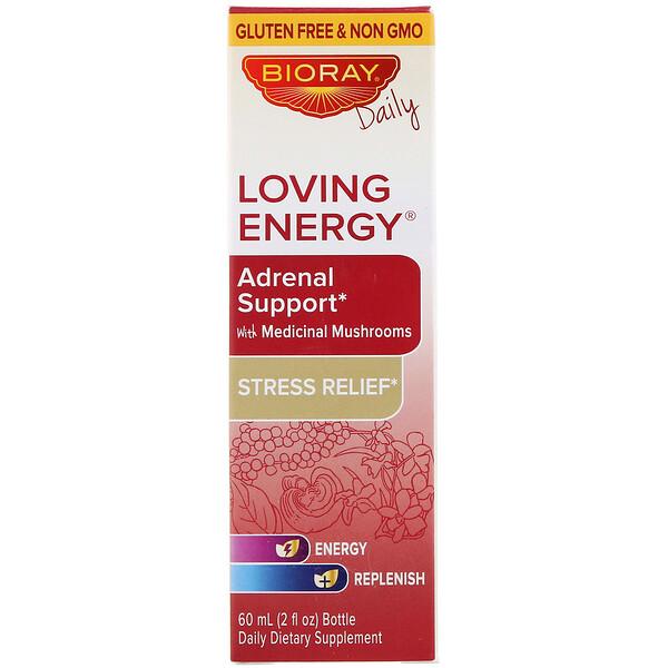 Bioray, Loving Energy, добавка для поддержки здоровья надпочечников с медицинскими грибами, без спирта, 60мл