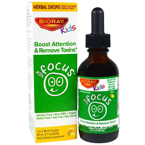 NDF Focus, повышение внимания и удаление токсинов, для детей, с цитрусовым вкусом, 60 мл (2 жидких унции)