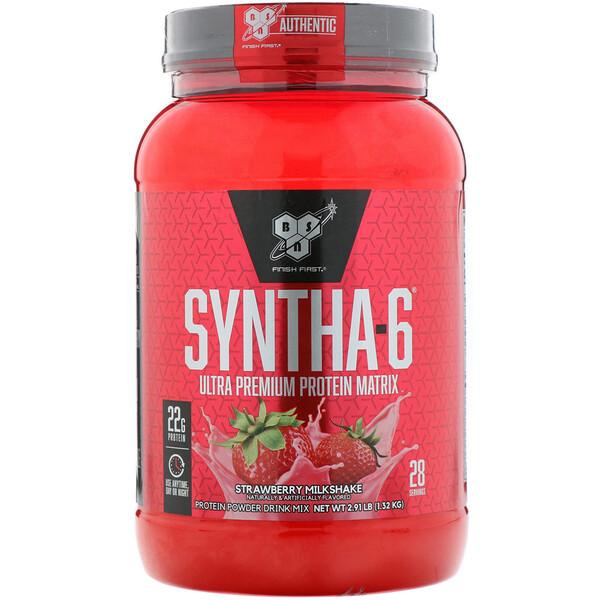 BSN, Syntha-6, Ultra Premium Protein Matrix, клубничный молочный коктейль, 1,32 кг (2,91 фунта)