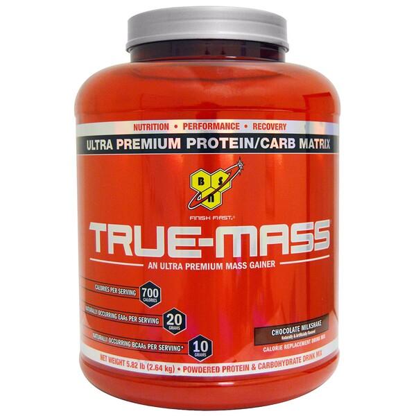 BSN, True-Mass, Ultra Premium Protein/Carb Matrix, шоколадный молочный коктейль, 2,64 кг (5,82 фунта)