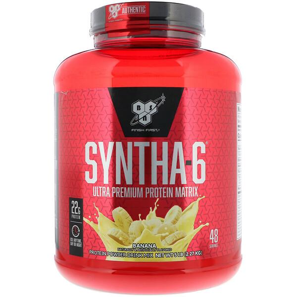 BSN, Syntha-6, белковая матрица ультра премиум, банан, 5 фунтов (2,27 кг)