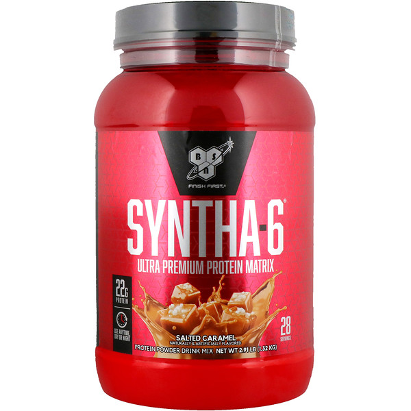 BSN, Syntha-6, первоклассная белковая матрица, соленая карамель, 2,91 фунта (1,32 кг)