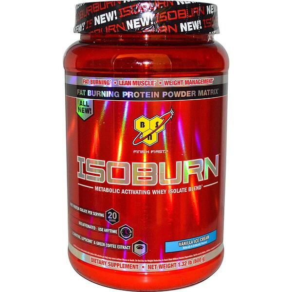 Isoburn, Комплекс изолята сывороточного белка для усиления метаболизма со вкусом ванильного мороженного, 1,32 фунта (600 г)