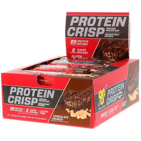 BSN, Protein Crisp, кранч с шоколадом, 12батончиков, 57г (2,01унции) каждый