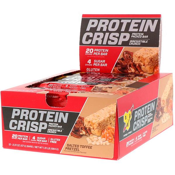 BSN, Protein Crisp, протеиновый батончик, крендельки с соленой карамелью, 12батончиков, 57г (2,01унции)