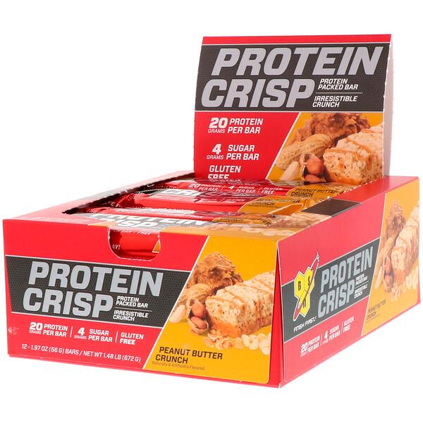 Protein Crisp, кранч с арахисовой пастой, 12батончиков, 56г (1,97унции) каждый