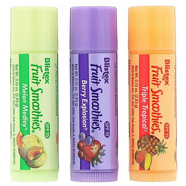 Бальзам для губ с солнцезащитным фильтром, SPF 15, Fruit Smoothies, 3 шт. в упаковке, 2,83 г (0,10 унции) каждая