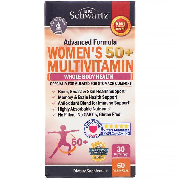 BioSchwartz, Advanced Formula, мультивитамины для женщин в возрасте 50+, 60растительных капсул