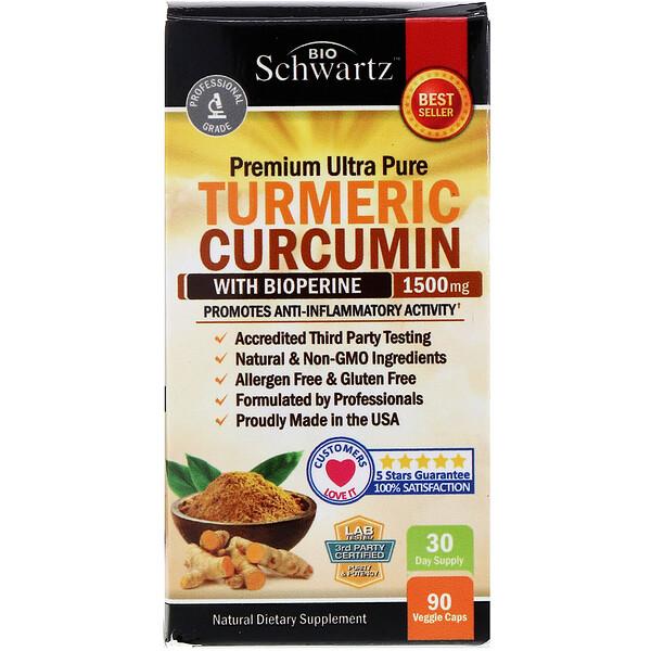 Premium Ultra Pure Turmeric Curcumin with Bioperine, 1,500 mg, 90 Veggie Caps