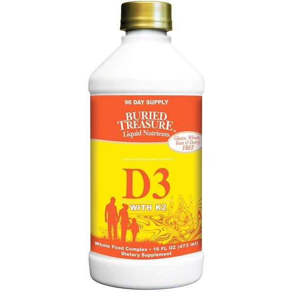Жидкий витамин D3, с K2, 16 жидких унций (473 мл)