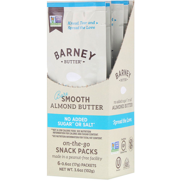 Almond Butter, On the Go Snack Packs, Bare Smooth, 6 Packets, 0.6 oz (17 g) Each