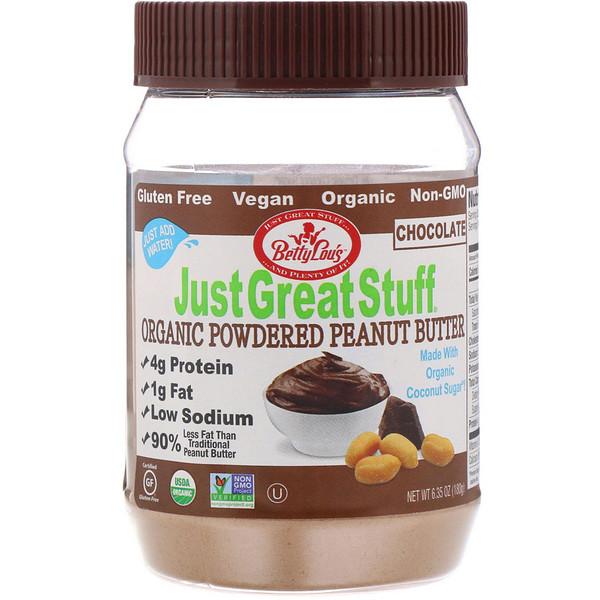 Betty Lou's, Just Great Stuff, порошковое органическое арахисовое масло, с шоколадом, 6,35 унций (180 г) (Discontinued Item)
