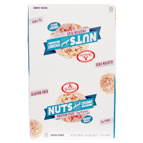 Betty Lou's, Protein Plus, Coconut Macadamia Balls, 12 Balls, 1.4 oz (40 g) Each (Discontinued Item)