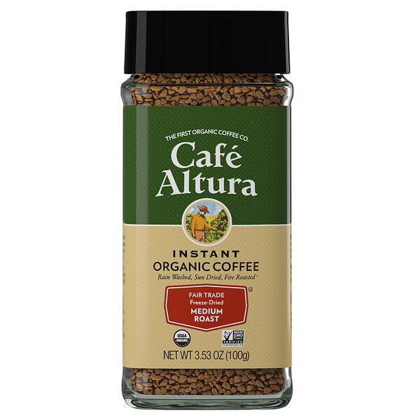 Cafe Altura, Instant Organic Coffee, Medium Roast, Freeze-Dried, 3.53 oz (100 g)