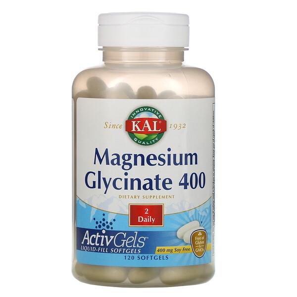 KAL, Глицинат магния400, 120мягких таблеток