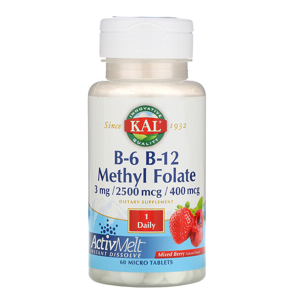 B-6 B-12 Methyl Folate, Mixed Berry, 3 mg / 2500 mcg / 400 mcg, 60 Micro Tablets