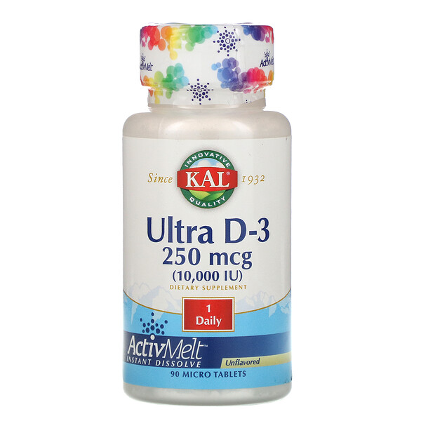 Ultra D-3, Unflavored, 10,000 IU, 90 Micro Tablets
