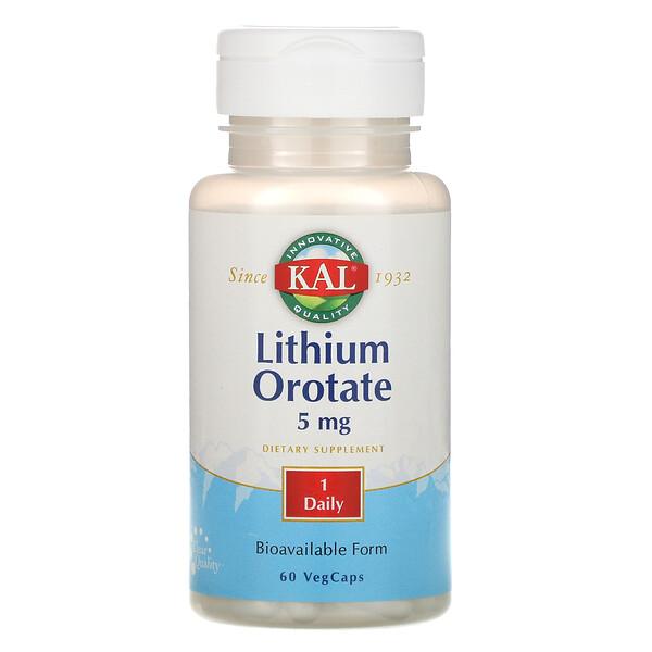 Оротат лития, 5 мг, 60 вегетарианских капсул