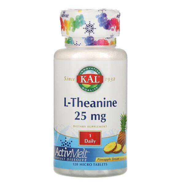KAL, L-теанин, ActivMelt, ананасовая мечта, 25 мг, 120 микротаблеток (Discontinued Item)