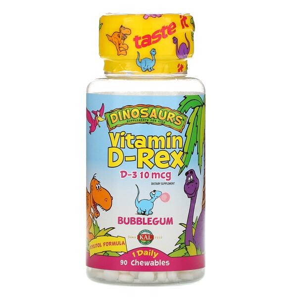 KAL, Vitamin D-Rex, Bubblegum, 400МЕ, 90жевательных таблеток