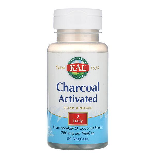 KAL, Активированный уголь, 280 мг, 50 капсул с оболочкой из ингредиентов растительного происхождения