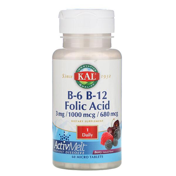 B-6, B-12, фолиевая кислота, ягода, 60 микротаблеток