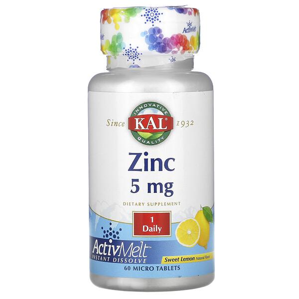 KAL, Цинк, Сладкий лимон, 5 мг , 60 микротаблеток