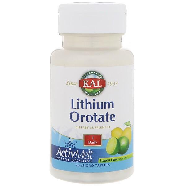 KAL, Оротат лития, натуральный вкус лимона и лайма, 90 микротаблеток (Discontinued Item)