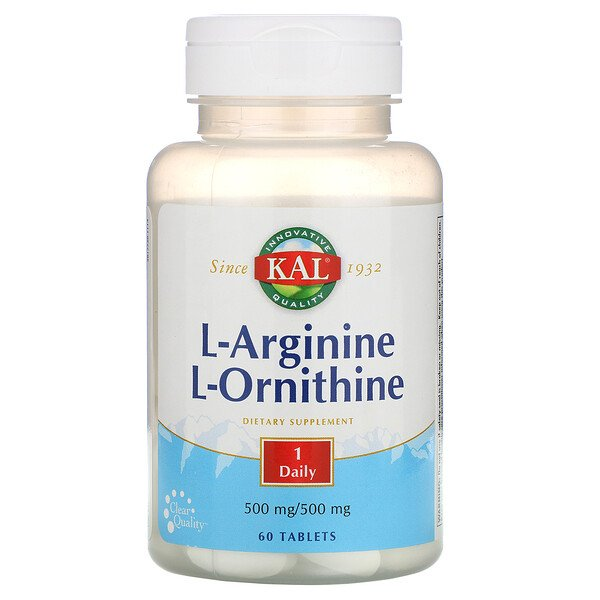 KAL, L-Arginine L-Ornithine, 500 mg /500 mg, 60 Tablets