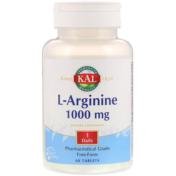 L-Arginine, Free Form, 1,000 mg, 60 Tablets