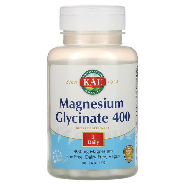 KAL, Глицинат магния 400, 400 мг, 90 таблеток