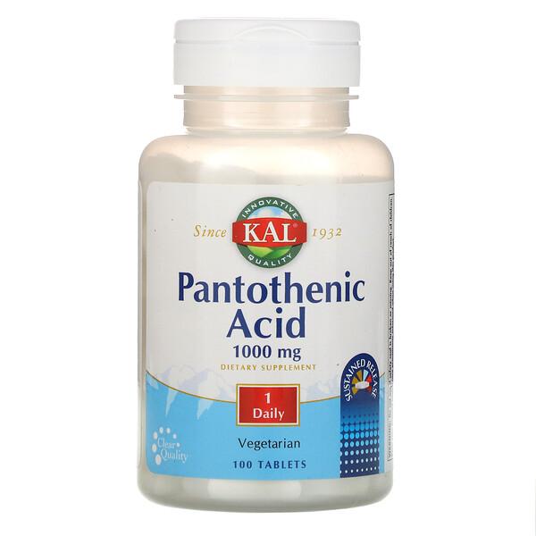 Пантотеновая кислота, 1000 мг, 100 таблеток