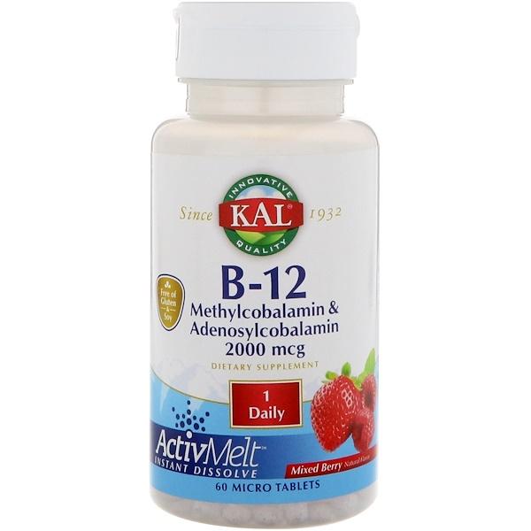 ActivMelt, витаминB-12 (в виде метилкобаламина и аденосилкобаламина), с ягодным ароматизатором, 2000мкг, 60мини-таблеток