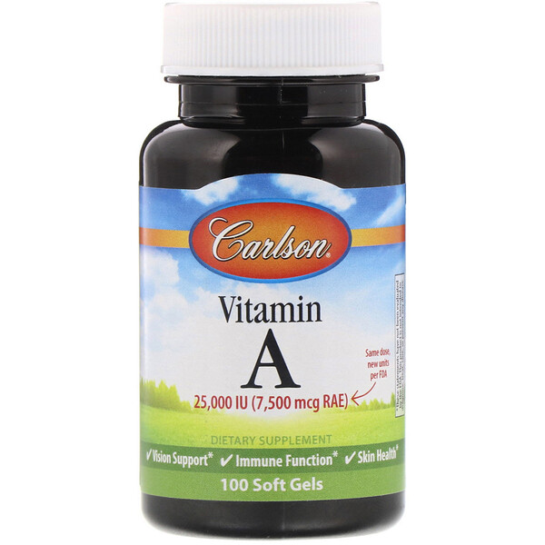 Carlson Labs, Витамин A, 25 000 МЕ, 100 мягких таблеток