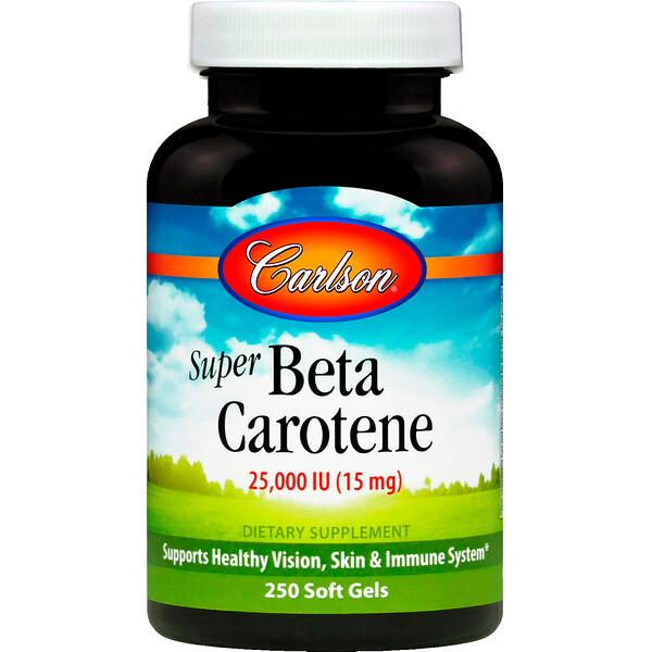 Carlson Labs, Супер бета-каротин, 25000 МЕ (15 мг), 250 желатиновых капсул (Discontinued Item)