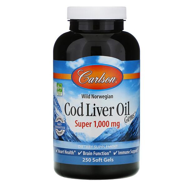 Carlson Labs, Cod Liver Oil Gems, капсулы из жира печени дикой норвежской трески, высшего качества, 1000мг, 250капсул