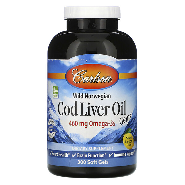 Carlson Labs, Wild Norwegian, Cod Liver Oil Gems, Natural Lemon Flavor, 460 mg, 300 Soft Gels